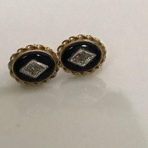 Antique 14k Diamond & Onyx Earrings